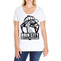 rain city bitch pigeons   black art Ladies Curvy T-Shirt | Artistshot