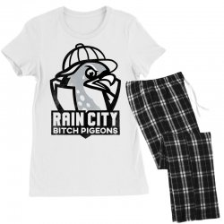 rain city bitch pigeons   black art Women's Pajamas Set | Artistshot