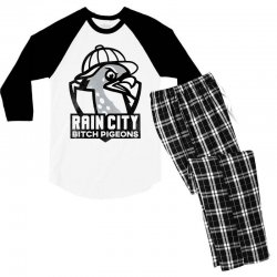rain city bitch pigeons   black art Men's 3/4 Sleeve Pajama Set | Artistshot