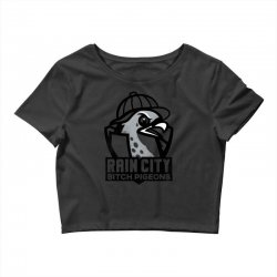 rain city bitch pigeons   black art Crop Top | Artistshot