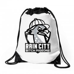 rain city bitch pigeons   black art Drawstring Bags | Artistshot