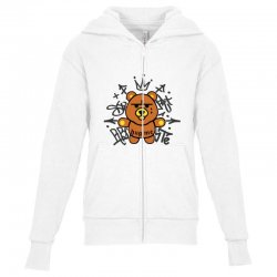 gangsta bear Youth Zipper Hoodie | Artistshot