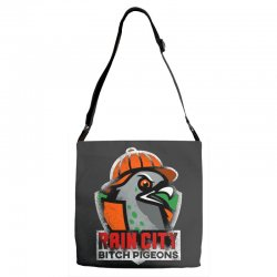 rain city   bitch pigeons Adjustable Strap Totes | Artistshot