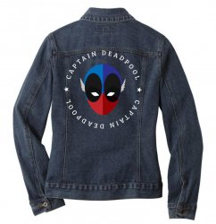 captain deadpool funny Ladies Denim Jacket | Artistshot