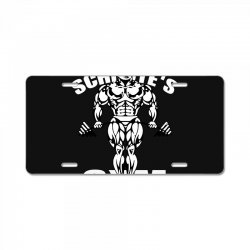dwight schrute's gym for muscles License Plate | Artistshot