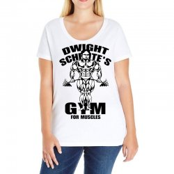 dwight schrute's gym for muscles Ladies Curvy T-Shirt | Artistshot