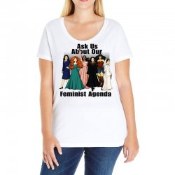 ask us about our feminist agenda Ladies Curvy T-Shirt | Artistshot