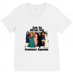ask us about our feminist agenda V-Neck Tee | Artistshot