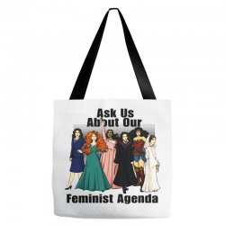 ask us about our feminist agenda Tote Bags | Artistshot