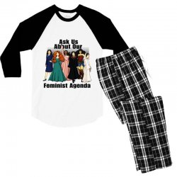 ask us about our feminist agenda Men's 3/4 Sleeve Pajama Set | Artistshot