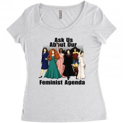 ask us about our feminist agenda Women's Triblend Scoop T-shirt | Artistshot