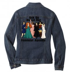 ask us about our feminist agenda Ladies Denim Jacket | Artistshot