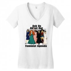 ask us about our feminist agenda Women's V-Neck T-Shirt | Artistshot