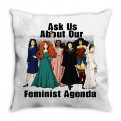ask us about our feminist agenda Throw Pillow | Artistshot