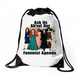 ask us about our feminist agenda Drawstring Bags | Artistshot