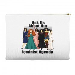 ask us about our feminist agenda Accessory Pouches | Artistshot