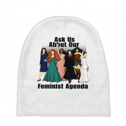 ask us about our feminist agenda Baby Beanies | Artistshot