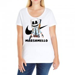 funny fornite marshmello and the gun Ladies Curvy T-Shirt | Artistshot