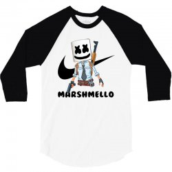 funny fornite marshmello and the gun 3/4 Sleeve Shirt | Artistshot