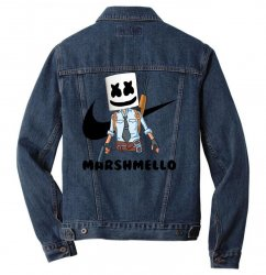 funny fornite marshmello and the gun Men Denim Jacket | Artistshot