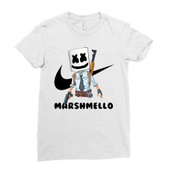 funny fornite marshmello and the gun Ladies Fitted T-Shirt | Artistshot