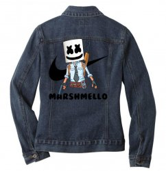 funny fornite marshmello and the gun Ladies Denim Jacket | Artistshot
