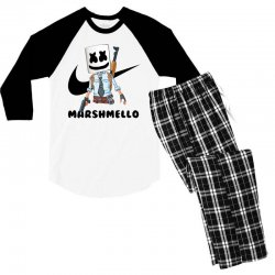 funny fornite marshmello and the gun Men's 3/4 Sleeve Pajama Set | Artistshot