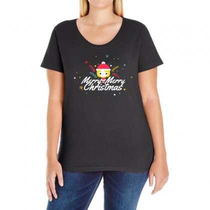 Merry Christmas Ladies Curvy T-shirt Designed By Bertaria