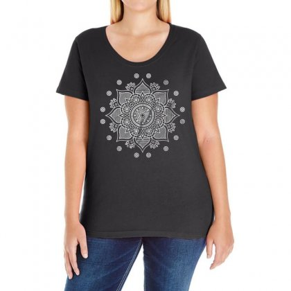 Mandala Ladies Curvy T-shirt Designed By Bertaria