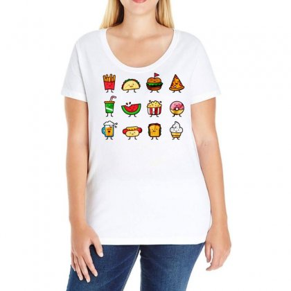 Food Doodle Ladies Curvy T-shirt Designed By Bertaria