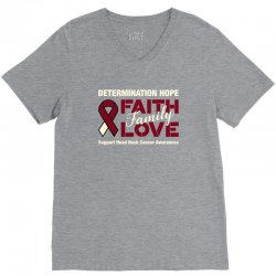 faith family love head and neck cancer for dark V-Neck Tee | Artistshot