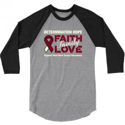 faith family love head and neck cancer for dark 3/4 Sleeve Shirt | Artistshot