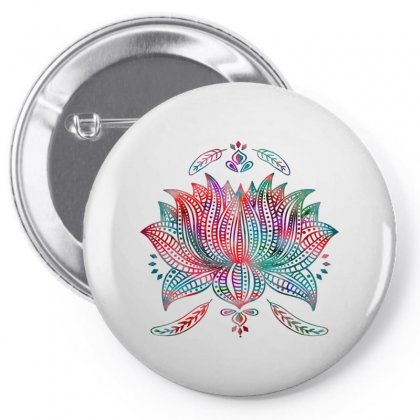 Lotus Feathers Boho Watercolor Pin-back Button Designed By Salmanaz