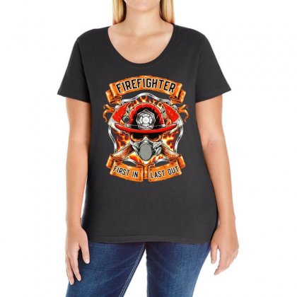 Fire Fighter Ladies Curvy T-shirt Designed By Bertaria