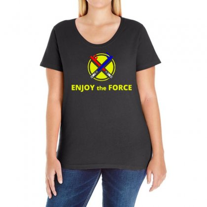 Enjoy The Force Ladies Curvy T-shirt Designed By Bertaria