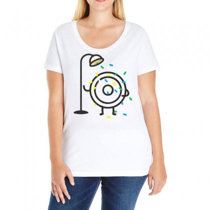 Donut Candy Shower Ladies Curvy T-shirt Designed By Bertaria