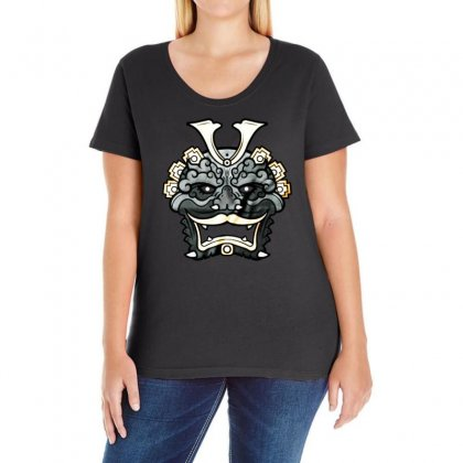 Demon Mask Ladies Curvy T-shirt Designed By Bertaria