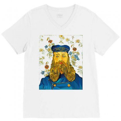 Vincent Van Gogh Cartoon Beard Illustration Bearde V-neck Tee Designed By Salmanaz