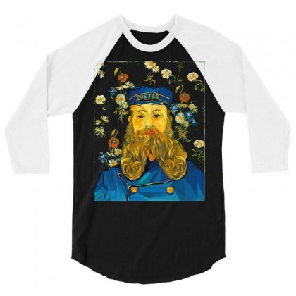 Vincent Van Gogh Cartoon Beard Illustration Bearde 3/4 Sleeve Shirt Designed By Salmanaz