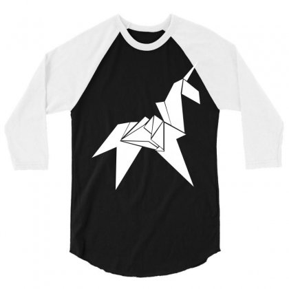 Unicorn Origami 3/4 Sleeve Shirt Designed By Flupluto