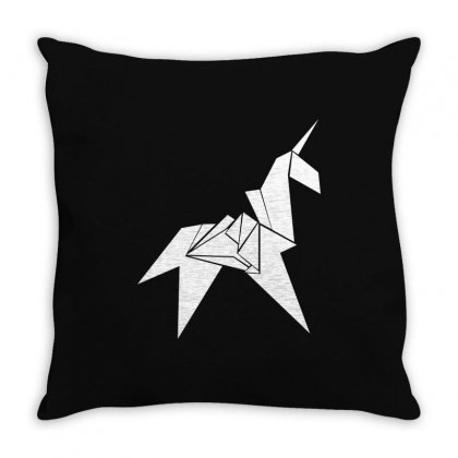 Unicorn Origami Throw Pillow Designed By Flupluto