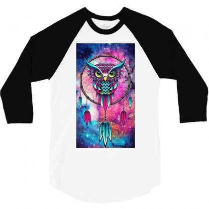 Owl Dreamcatcher 3/4 Sleeve Shirt Designed By Salmanaz