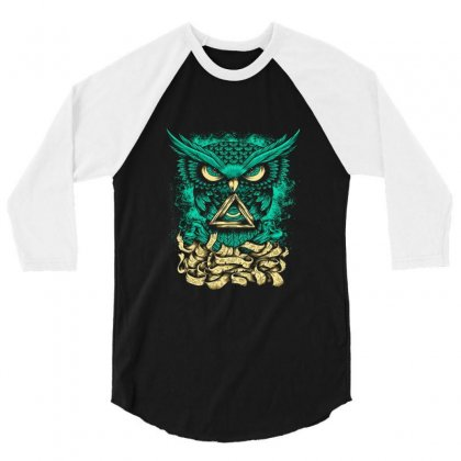 Illuminati Owl 3/4 Sleeve Shirt Designed By Salmanaz