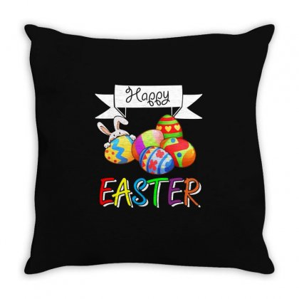 Happy Easter   Colorful Eggs T Shirt Throw Pillow Designed By Hung