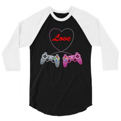 Funny Love Controler Game T Shirt 3/4 Sleeve Shirt Designed By Hung