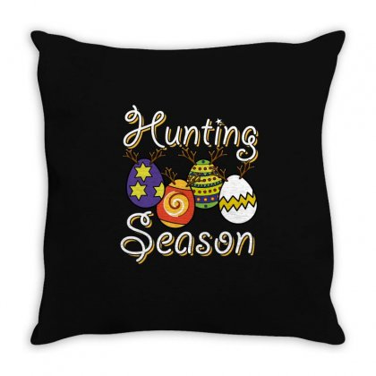 Funny Eggs Hunting Season T Shirt Throw Pillow Designed By Hung