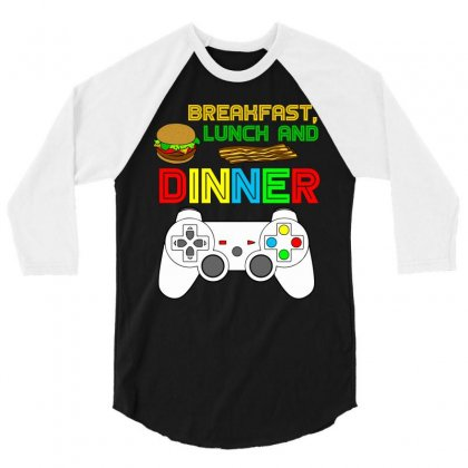 Breakfast Lunch Dinner T Shirt 3/4 Sleeve Shirt Designed By Hung
