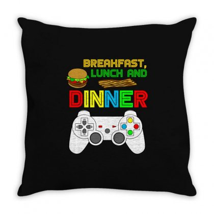 Breakfast Lunch Dinner T Shirt Throw Pillow Designed By Hung