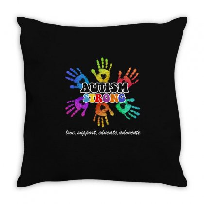 Autism Strong T Shirt Throw Pillow Designed By Hung