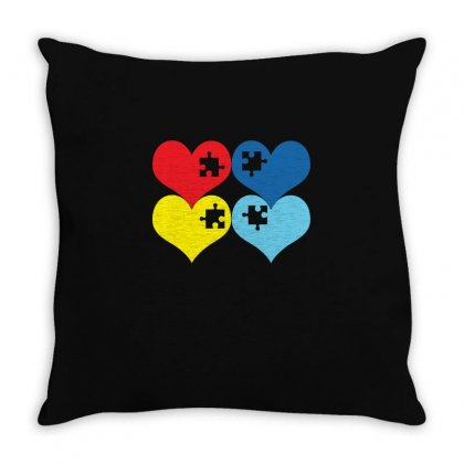 Autism Heart T Shirt Throw Pillow Designed By Hung